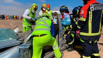 Círculo de Seguridad y Protección Realiza Simulacro de Accidente Vehicular Con Materiales Peligrosos y Rescate de Heridos en Autopista Antofagasta